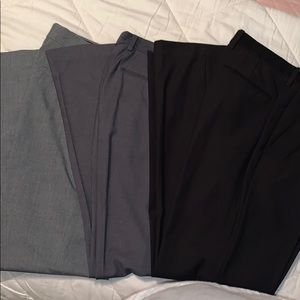 Three pairs flat front dress pants